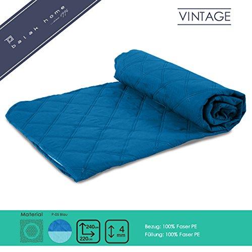 BALAK HOME® Premium Tagesdecke Vintage (Blau, 220 x 240 cm) Kuschelig Warm   Ideal als Bettüberwurf oder Sofaüberwurf   verschiedene Größen und Farben   Original OEKO-TEX   Direkt vom Hersteller