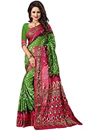 Regent-e Fashion Women's Cotton Silk Saree (Green & Pink)