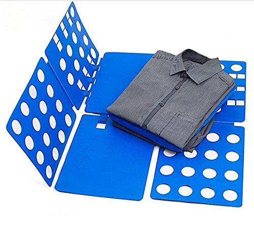 Einstellbares Wäsche Faltbrett Falthilfe Wäschefalter für T-Shirt, Pullover, Kleidung, Kunststoff 57 x 68 cm, blau, Ordnung