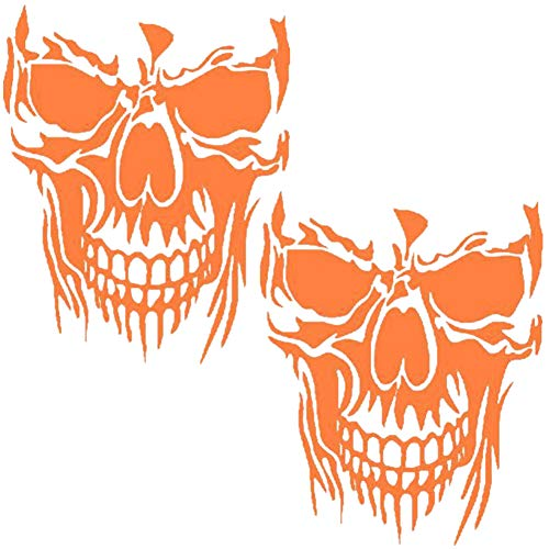 Fully 2STK. Auto Skull Motorhaubenaufkleber Totenkopf Heckscheibe Aufkleber Sticker Folien Tattoo (Orange, 22X28CM/8.66X11)
