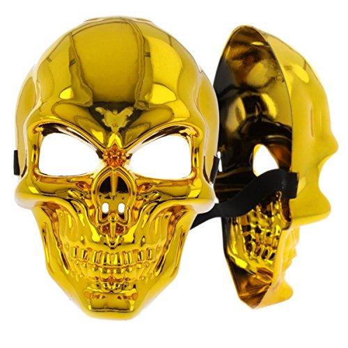 Glänzende Skelett Halbmaske in Gold für Erwachsene, auch zum bemalen geeignet