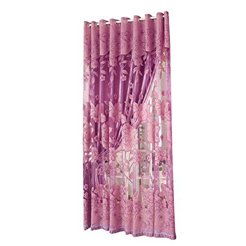 Tenda camera da letto winomo tende tulle voile ed oscuranti floreali con occhielli 270x 87 cm in viola