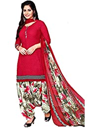 TryMode Women's French Crepe Salwar Suit Material with Dupatta (TYM_1055_D_Red_Free Size)