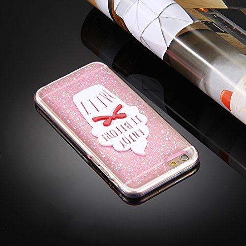 Phone case & Hülle Für iPhone 6 / 6s, Glitter Powder Ice Cream Words Pattern Soft TPU Schutzhülle ( Color : Silver ) Pink
