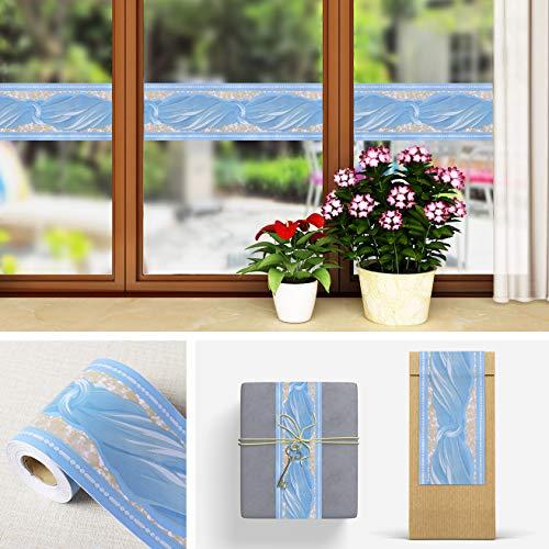 Livelynine Wandaufkleber mit Schleife zum Aufkleben und Abziehen von Bordüren, Blau, abnehmbare Wandbordüre für Zimmer, Dekorative Folie, Kinderzimmer, selbstklebend, Vinyl, 10 x 90 cm