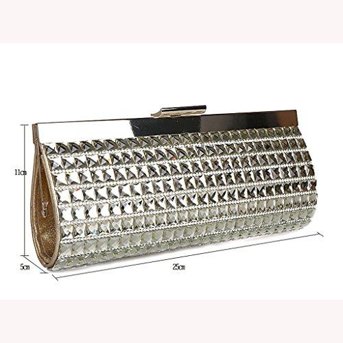 La borsa borsa da sera di banchetto della sposa della frizione moda sacchetto nuovo pacchetto di diamante ( Colore : Blu navy ) Silver