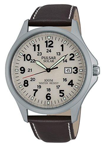 Pulsar Herren-Armbanduhr XL Sport Analog Quarz Leder PX3007X1
