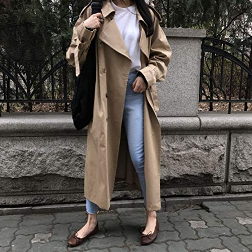 Double-breasted-design (CHANNIKO-DE Women Slim Long Trench Coat Windbreaker Ladies Lightweight Elegant Jacket Outwear Double-Breasted Full-Length Slim Trench)