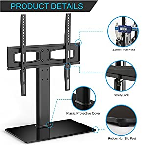 FITUEYES Tabletop TV Stand Pedestal Base Mount for 27 29 32 42 43 45 47 49 50 inch LCD LED HD Plasma TV, Height Adjustable TT104201GB