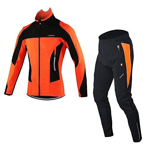 Lixada Radjacke Männer Langarm Mantel Wasserabweisend Winterthermal Fahrradhose Lang Herren Draussen Mit Gepolstert Kissen- Gr. 2XL=1.85-1.90cm,80-90kg, Orange Set