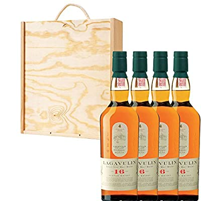 4 x Lagavulin 16 Year Old Single Malt Scotch Whisky in Pine Wood Gift Box With Handcrafted Gifts2Drink Tag