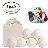 YOUTOO Trocknerbälle Trocknerkugeln aus100% Schafwolle für jede Wäsche, Decke, Kissen, Kopfkissen oder Daunen im Wäschetrockner XXL 6 Stüke