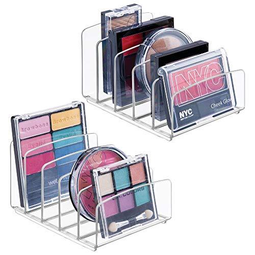 mDesign 2er-Set Kosmetik Organizer - Aufbewahrungsbox mit je fünf Fächern für Make-up, Nagellack und Beautyprodukte - die ideale Schminkaufbewahrung - durchsichtig