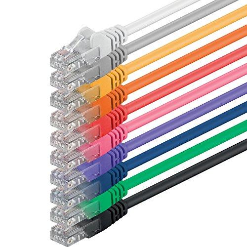 Preisvergleich Produktbild 1aTTack CAT6 UTP Netzwerk-Patch-Kabel 0,5m mit 2x RJ45 Stecker Set (10 Stück, 10 Farben)