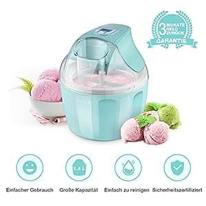 Eismaschine, iSiLER elektrische Eismaschine mit 1,4 L Fassungsvermögen für 5-6 Personen, Ice Cream Maker, Automatischer Frozen-Yogurt-/Eiscreme-/Speiseeisbereiter mit LCD-Display & Digitaltimer und Rezeptvorschlägen
