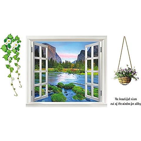 Laisser la fenêtre avec vue sur la troisième génération de mur papier peint amovible chambre salon canapé plat mur mur posters autocollants