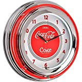 Runde Uhr, Coca-Cola Neonbeleuchtung, Coca Cola Rot/Chromgrau, Metall und Glas , The Coca-Cola-Company 36-1C-005