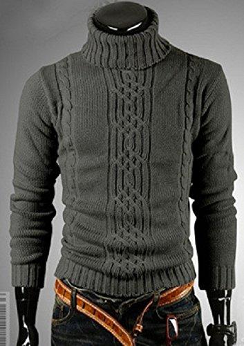 BOMOVO Herren Stehkragen Strickpullover Pullover Slim Fit Grau Grau