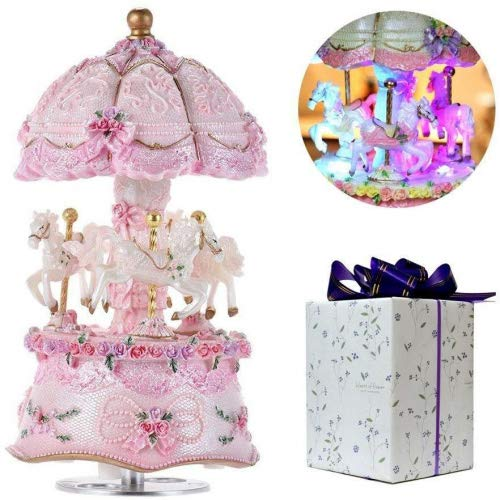 ACCOCO luxury color change LED luminous light rotating 3-horse Carousel Horse Music Box with exquisite gift box Melody Carrying You From Castle In The Sky