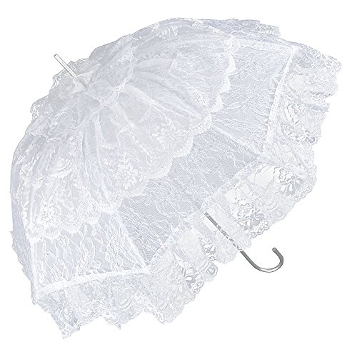 VON LILIENFELD Regenschirm Damen Mode Sonnenschirm Brautschirm Hochzeitsschirm Melissa weiß mit Rüschen außergewöhnliches Design (Spitze Sonnenschirm Rüschen)