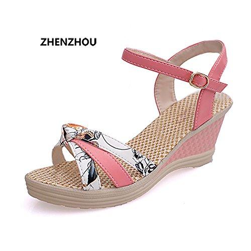 Zormey Kostenloser Versand Damenschuhe Von 2017 Sommer Damen Wedges Schuhe Sandalen Plattform Plattform Stroh Geflecht Farbe Block High-Heeled Schuhe 5