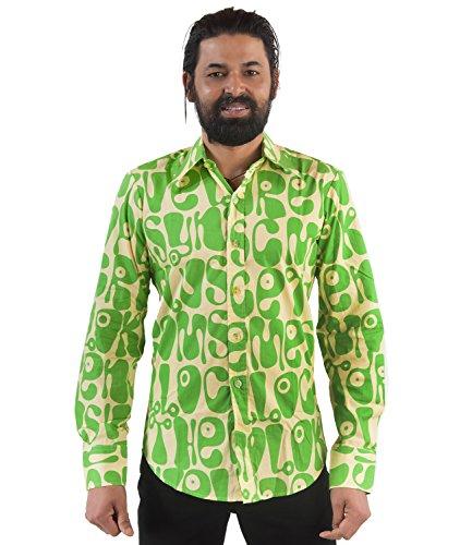 70er Jahre Herren Partyhemd grün Hippie Look Grün