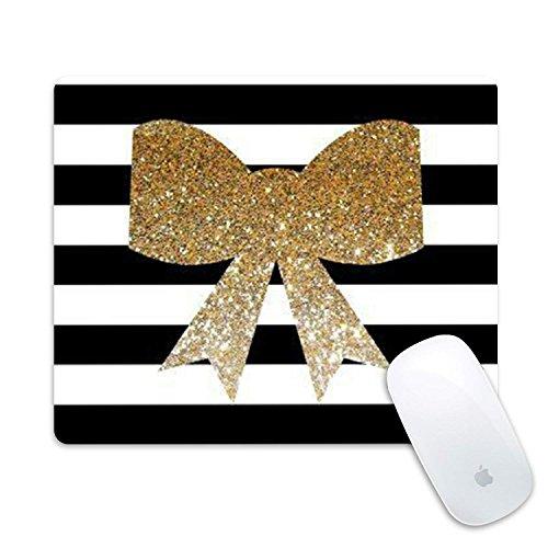 Alfombrilla de ratón personalizada, alfombrilla de ratón rectangular de goma, diseño personalizable, diseño de rayas doradas con purpurina
