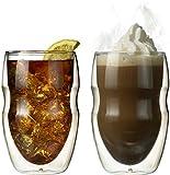 Ozeri DW12S Doppelwandiges Thermoglas Serafino mit Schwebeeffekt, 2x 0,35 L Glas Set