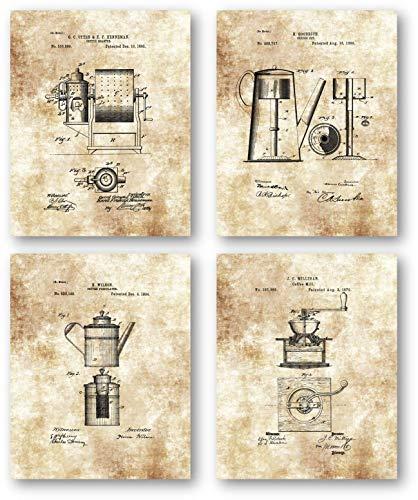 Ramini Brands Original Coffee Patent Artwork - Set von 4 ungerahmten Drucken, tolles Geschenk für Kaffeeliebhaber, Vintage Küche oder Expresso Bar Dekor Vintage Küche Dekor