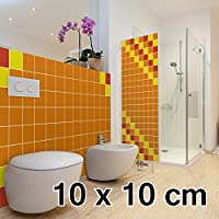 malango® Fliesenaufkleber 10 x 10 cm Klebefliesen Fliesendekor Bad Küche Wandfliesendekoration Fliesendesign 5 Stück gold - MATT