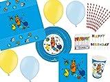 74-tlg. Partyset Die Sendung mit der Maus blau - für 10 Kinder - Partygeschirr und Zubehör