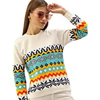 THE DRY STATE Women Off-White & Blue Printed Pullover Sweatshirt
