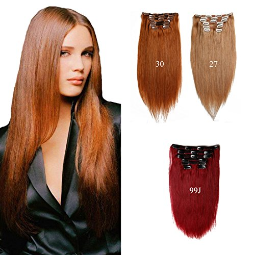 Double Trame Viviabella épais Clip en Extensions de cheveux 7 A Cheveux humains brésiliens Pince à cheveux INS Bordeaux Blond Cuivre rouge 7 pièces 70 G-160g 20,3 - 71,1 cm