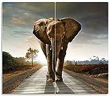 Wallario Herdabdeckplatte/Spritzschutz aus Glas, 2-teilig, 60x52cm, für Ceran- und Induktionsherde, Elefant bei Sonnenaufgang in Afrika