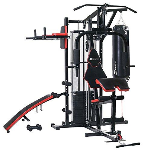 Hop-Sport Kraftstation Fitnessstation Multigym Fitnesscenter 3 Stationen + 72 kg inkl. Boxsack, Boxhandschuhe und Kurzhanteln