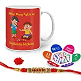 Indigifts Rakhi Gifts For Brother Bhaiya Rakhi Song Quote Printed Gift Set Of Mug 330 Ml, Crystal Rakhi For Brother, Greeting Card & Tika - Rakshabandhan Gifts For Brother, Rakhi For Brother With Gifts, Raksha Bandhan Gifts, Brother Coffee Cup