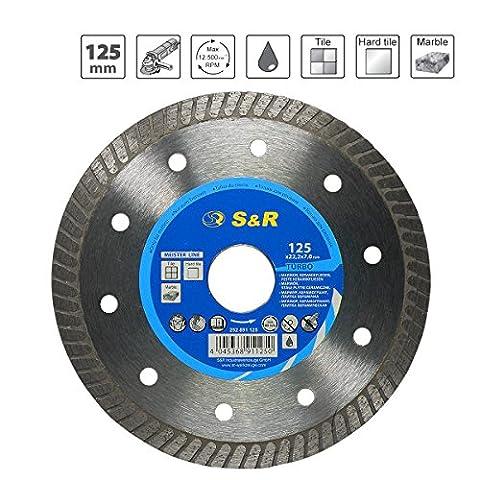 S&R Disque Lame diamantée à tronçonner 125x1,6(5,5)x22,2mm Céramique, Tuiles, Marbre, Granit, Calcaire et autres matériaux durs. Qualité