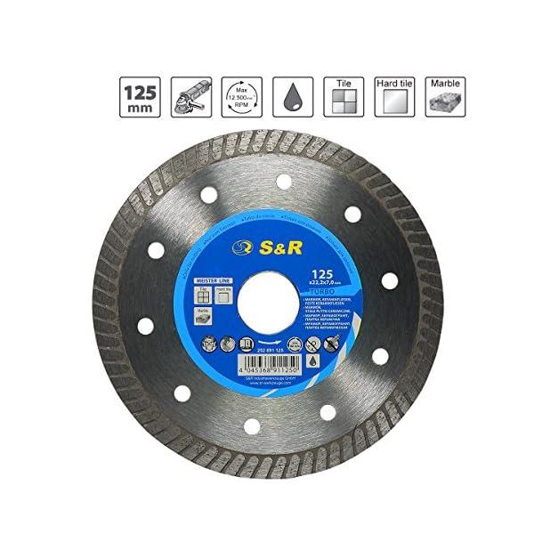 51Lii84rzEL. SS600  - S&R Disco Diamante 125 mm para corte de Porcelanico, Cerámica dura, Azulejos, Mármol, Granito, Piedra caliza y otros materiales duros. Calidad Profesional
