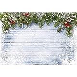Weihnachtshintergrund für Fotografie 10x10 weiß Holzboden Romantische Schneeflocke mit Glitzer Weihnachtsdeko Lagre Hintergrund für Urlaub Party Nahtlos ohne Falten