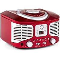 auna • RCD320 • Radio CD • Equipo estéreo • Radio de Cocina • Retro • Nostálgico • Reproductor de CD • FM • AUX • Pantalla Digital • Programación de reproducción • Cable de Antena • Portátil • Rojo