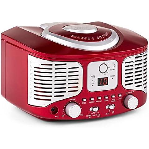 auna RCD320 minicadena retro (sistema estéreo compacto estilo retro, reproductor de CD, entrada AUX para MP3 y Smartphones, radio FM, altavoces incorporados) - rojo