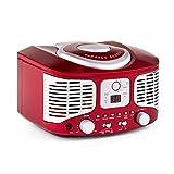 auna RCD 320 • CD Radio • Stereoanlage • Nostalgie Küchenradio • Vintage Design • CD Player • UKW Radiotuner • AUX Eingang • Digital-Anzeige • Wiedergabeprogrammierung • Wurfantenne • tragbar • rot