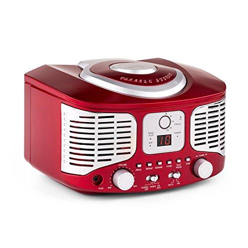 auna RCD 320 • CD Radio • Stereoanlage • Nostalgie Küchenradio • Vintage Design • CD Player • UKW Radiotuner • AUX Eingang • Digital-Anzeige • Wiedergabeprogrammierung • Wurfantenne • tragbar • rot -