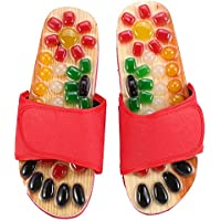 Chaussures de Massage Cailloux Colorés Chaussures de Massage en Pierre Naturelle Chaussures de Réflexologie des Pieds Acupression pour Soins des Pieds Relaxation à la Maison(39-Rouge)