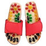 Zapatos de masaje Guijarros de colores Zapatos de masaje de piedra natural Zonas de reflexología podal Acupresión para el cuidado de los pies Relajación en el hoga (rojo, 39)