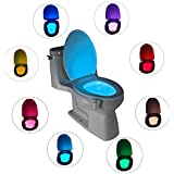 Closestool noche luz cuerpo humano Sensor de movimiento activado automático movimiento hogar baño inodoro lámpara de luz 8colores cambios