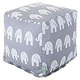"Majestic Home Goods Gray Ellie Indoor Bean Bag Ottoman Pouf Cube 17"" L x 17"" W x 17"" H"