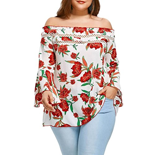 KaloryWee Women Floral Printed Off Shoulder Patchwork Pullover Shirt Tops Plus Size Blouse