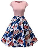 HomRain Damen 50s Retro Vintage Cocktail Rockabilly Swing Party Basic Kleid Blush-Royalblue Flower S