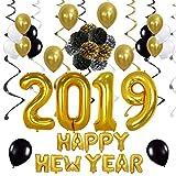 QILICZ 2019 Happy New Year deko Set, Silvester Dekoration - Pompoms Blumen, Spiral Girlanden,Luftballon,Foil Party Swirls, 2019 Anzahl und Happy New Year Foil Ballons, deko Ballons Jahr Partei